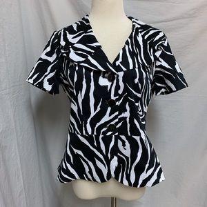 Zebra Print Short Sleeve Jacket